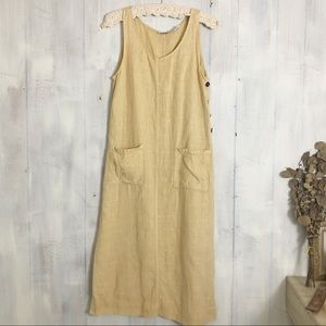 Vintage   maxi yellow linen dress
